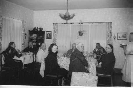 Black and white photograph of the Stickney Inn and Store dining room, ca. 1960.