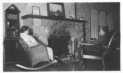 Black and white photograph of the Stickney Inn and Store, living room, ca. 1930.