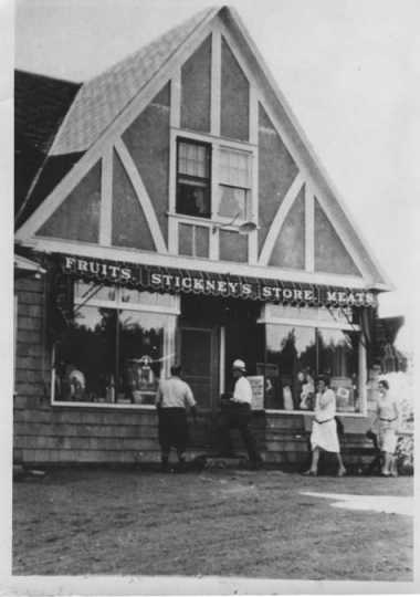 Black and white photograph of the exterior of Stickney's grocery store, ca. 1930s.