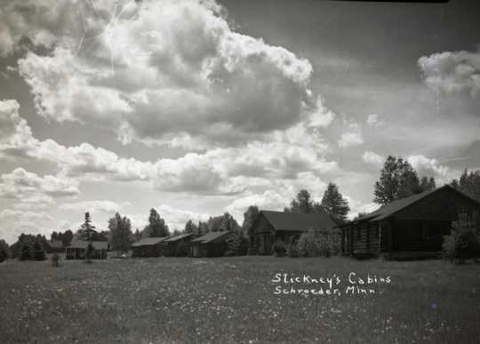 Black and white photograph of Stickney's Cabins, ca. 1936.