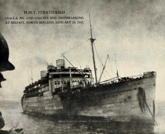 Black and white photograph of the H.M.T. Strathaird, c.1942.