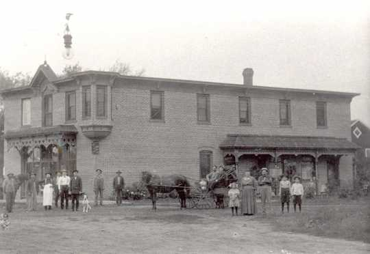 Black and white photograph of Strunk Saloon in Hanover, ca. 1906.