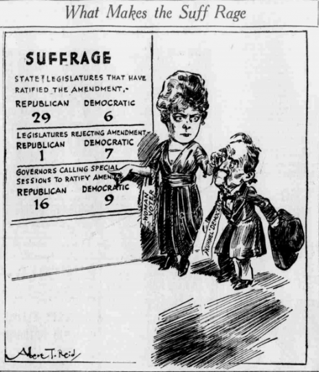 Suffrage cartoon by A. T. Reid from the Minneapolis Tribune, showing the tally of suffrage states by political parties as of July 16, 1920. The man represents southern Democrats who had a reputation for being anti-suffrage.