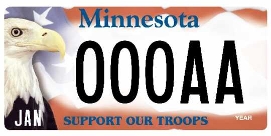 "Color image of Minnesota ""Support Our Troops"" license plate featuring Harriet, a bald eagle ambassador from the National Eagle Center."