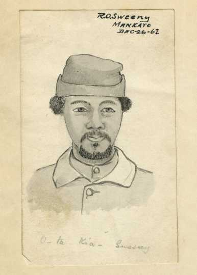 Scan of a drawing of Joseph Godfrey, 1862. Drawing by Robert O. Sweeny.
