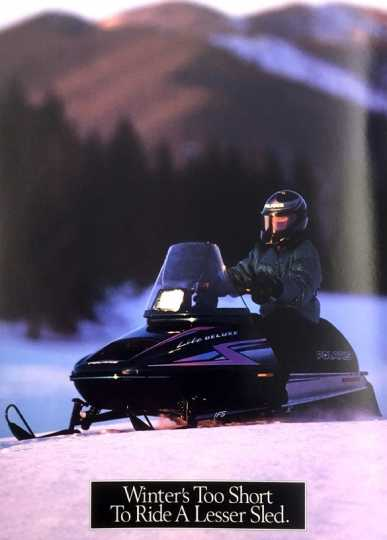 1996 Polaris sales catalog. From Polaris 1996 Snowmobiles (Minneapolis: Polaris, 1995). Available at the Minnesota Historical Society library as TL234.2 P64 1995.