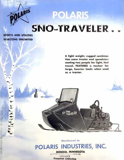 """Polaris sales brochure produced after Edgar Hetteen's pivotal Alaska-proving trek, ca. 1960. From """"Pamphlets relating to snowmobiles and snow cruisers, 1939–."""" Pamphlets collection (TL234), Minnesota Historical Society, St. Paul."""