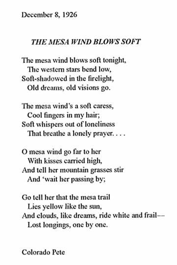 """The Mesa Wind Blows Soft,"" 1926"