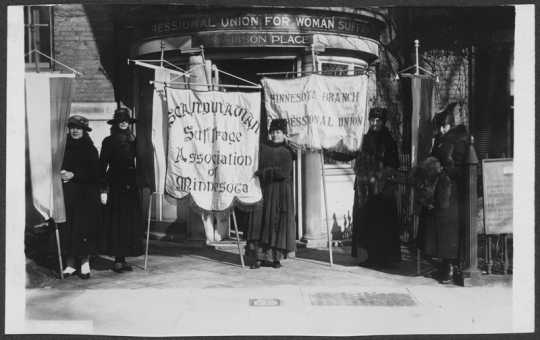 Scandinavian Woman Suffrage Association members picketing in Washington, DC