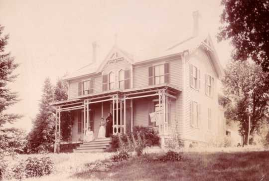 This photograph shows the house as it was originally built, with the front porch seen here facing west. Photograph by Fowler View Company, ca. 1898. Anoka County Historical Society, object ID# 3000.1.5.