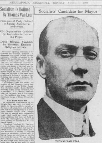 Minneapolis Morning Tribune front page featuring Thomas Van Lear