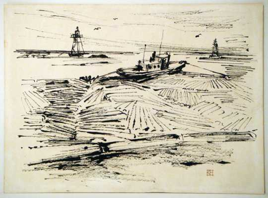 Black and white drawing of logs in the water, with a boat and a lighthouse in the background.