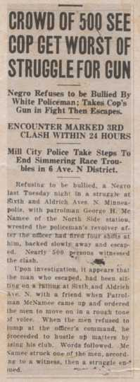 "Headline and text of an article (""Crowd of 500 See Cop Get Worst of Struggle for Gun"") published in the Northwestern Bulletin, an African American newspaper based in St. Paul, on June 24, 1922. Public domain."