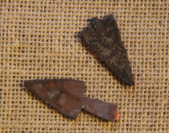 Color image of wo metal projectile points from the Réaume site, 2012.