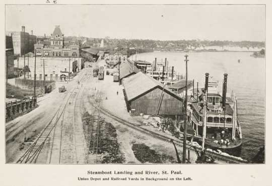 Steamboat Landing and River, St. Paul.