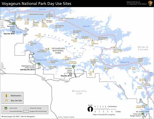 Day-use sites within Voyageurs National Park