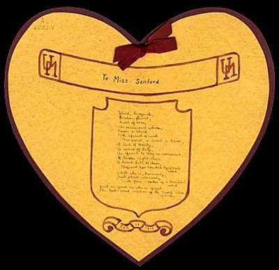 "Heart-shaped valentine, labeled ""To Miss Sanford"""