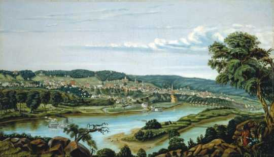 Painting showing a view of St. Paul, 1855.