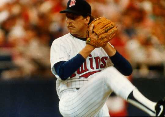 The Twins Frank Viola prepares to pitch in the Metrodome. He would go on to win two games and be named the World Series MVP