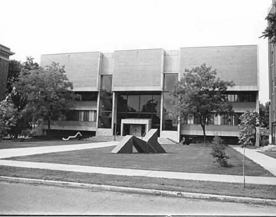 Black and white photograph of the Visual Arts building at the College of St. Catherine in St. Paul, ca. 1970. Photographed by Alan Ominsky.