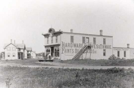 Black and white photograph of Vollbrecht Hardware Store in Hanover, ca. 1906.