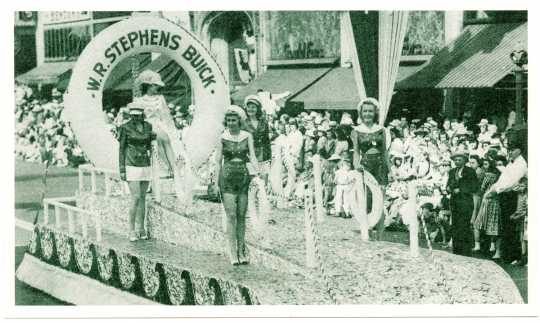 Parade float for W.R. Stephens Buick, ca. 1950