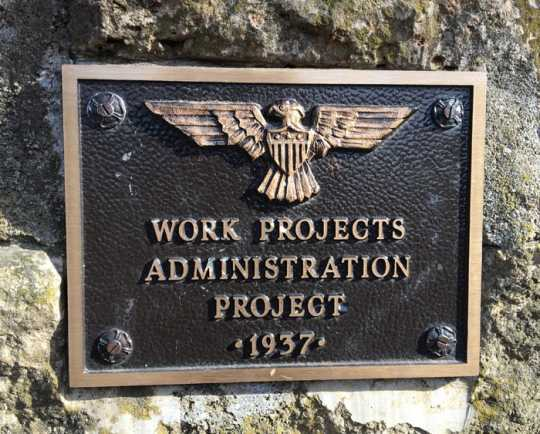 Color image of a WPA plaque near the Minneopa Falls at Minneopa State Park, April 8, 2017. Photograph by Karin J. Green.