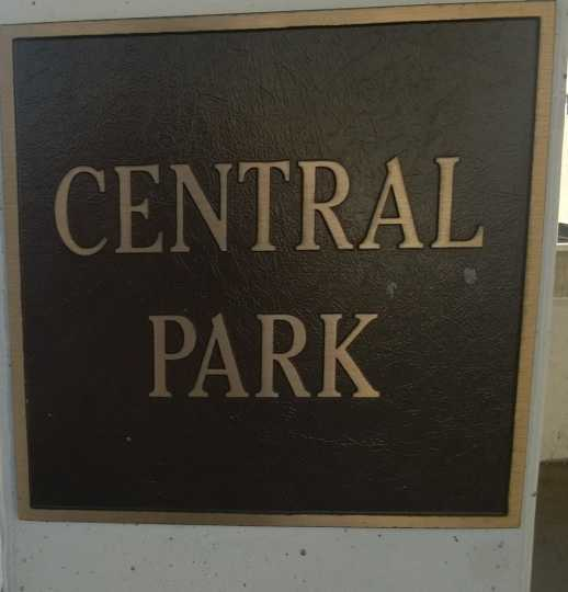 Color image of the plaque marking the location of St. Paul's Central Park, now the site of a parking lot at 54 Dr. Martin Luther King Jr. Blvd.