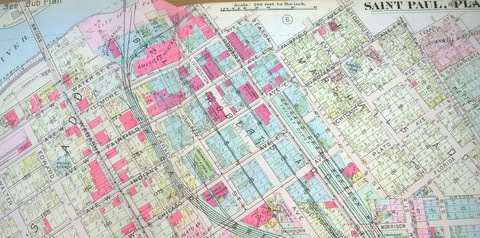 Color image of a 1916 plat map of the Flats, except the northeast portion.