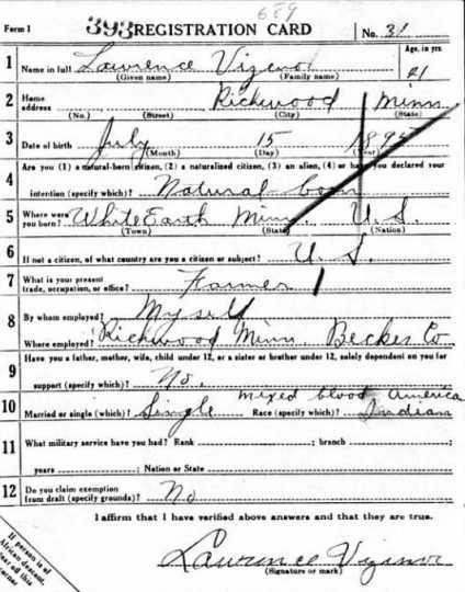 Lawrence Vizenor's World War I registration card