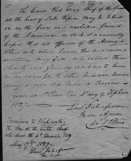 "Hand written document recognizing ""Wahcoota"" as Tatanka Mani's successor, May 17, 1829."