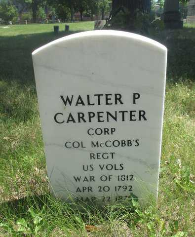Color image of the headstone of Walter P. Carpenter, in Pioneers and Soldiers Memorial Cemetery in Minneapolis, 2016. Photographed by Paul Nelson.
