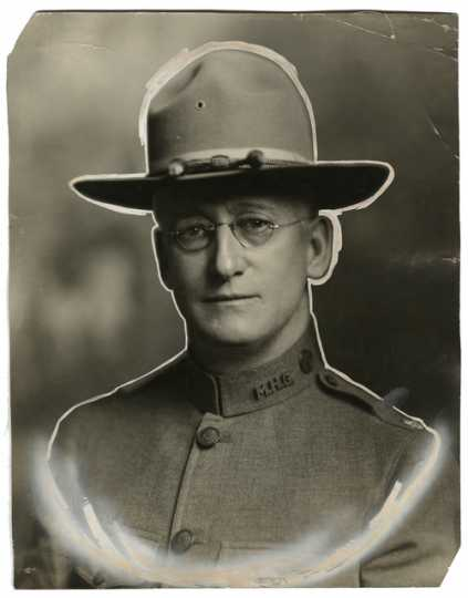 Black and white photograph of Major Thomas Warham, c.1918. Warham was commander of the Medical Corps, Motor Corps Division.