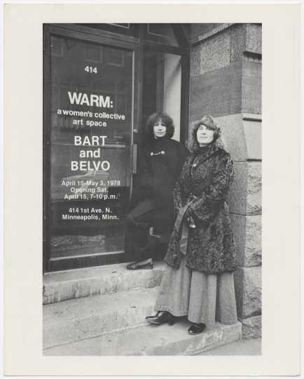 Harriet Bart and Hazel Belvo outside WARM gallery