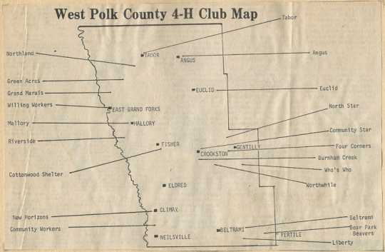Map of 4H clubs in West Polk County published in the Crookston Daily Times, 1980.