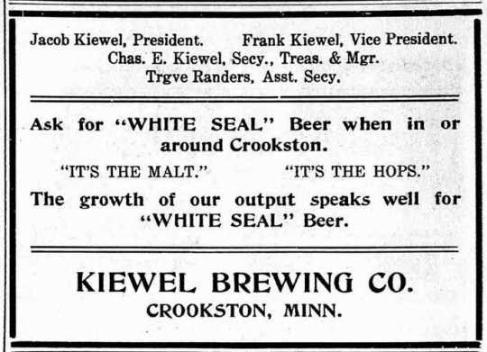 Advertisement in Both Sides newspaper for White Seal Beer from Kiewel Brewing Company, November 12, 1914.
