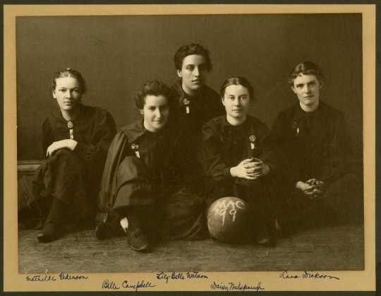 Photograph of Macalester Women's baseketball team, 1899