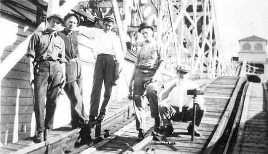 Roller coaster crew at Wonderland Park, Minneapolis; Robert Mauritz Swenson is second from left.