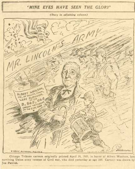"Cartoon of Albert Woolson drawn by Joe Parrish. It is titled ""Mine Eyes Have Seen the Glory."" The cartoon was published on April 16, 1955, in recognition of Woolson being the last surviving Union Army soldier. Used with permission of St. Louis County Historical Society, University of Minnesota of Duluth Archives."