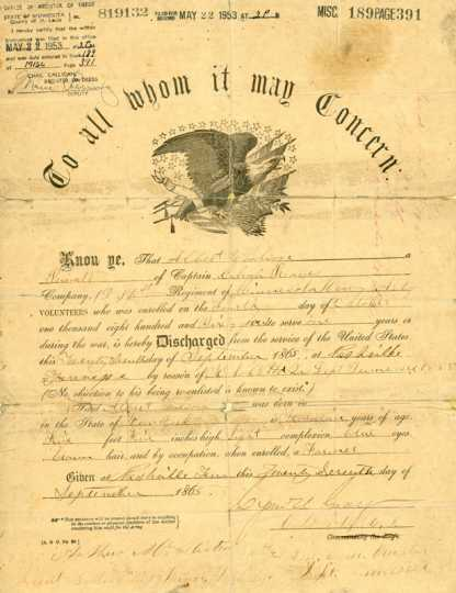 The papers (819132) of Private Albert Woolson, discharged from the United States Army in Nashville, Tennessee, on September 27, 1865. St. Louis County Historical Society, University of Minnesota Duluth Archives, Duluth. For a closer view, click the link below.