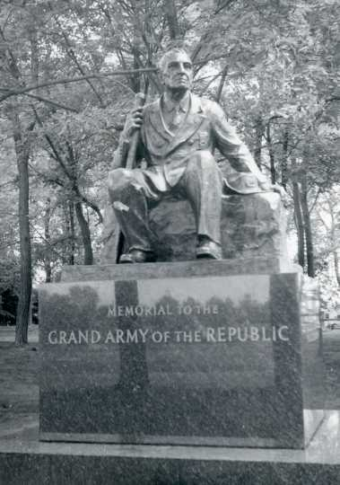 Monument to Albert Woolson as the last surviving member of the Union Army in the Civil War. Woolson was not at the Gettysburg battle. The statue was placed there in his memory and of the Grand Army of the Republic (GAR). The statue was dedicated in September 1956. Woolson posed for the statue, and it was created by famous sculptor Avard Fairbanks. Used with permission of the St. Louis County Historical Society, University of Minnesota of Duluth Archives.