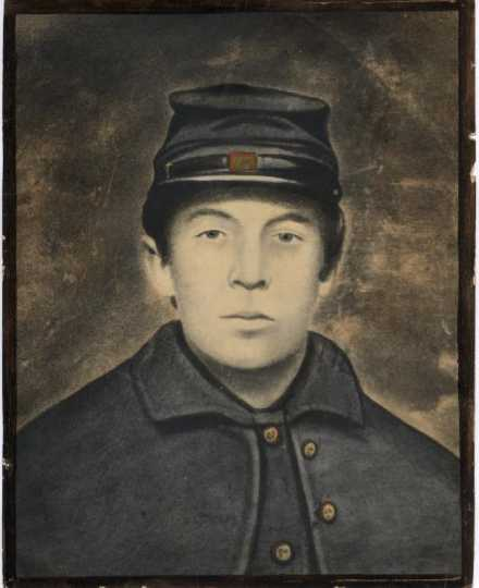 Albert Woolson in his army uniform. The photo was probably taken at Fort Snelling following his army enlistment and was later enlarged and painted, ca. 1864. Woolson family archives, Duluth, Minnesota. Used with the permission of the Woolson family.