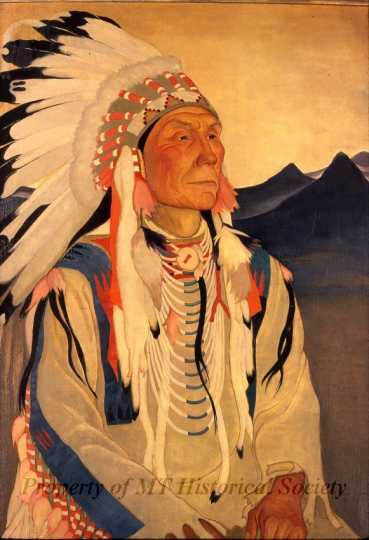 Color image of Yellow Kidney, Keeper of the Beaver Bundle, oil-on-canvas painting by Elsa Jemne, 1926.