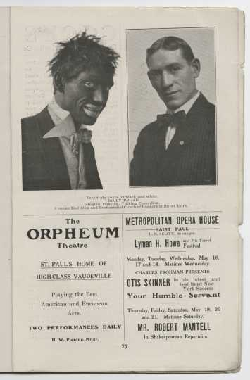 Page from the Bankers in Burnt Cork pamphlet. This show was a blackface minstrel production organized by the St. Paul chapter of the American Institute of Banking. From the Minnesota Historical Society pamphlet collection, St. Paul.