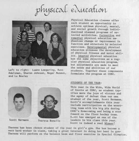 Page about a physical education program from the 1977 edition of Hawkeye, the annual yearbook of the Cooperative School Rehabilitation Center, Minnetonka.