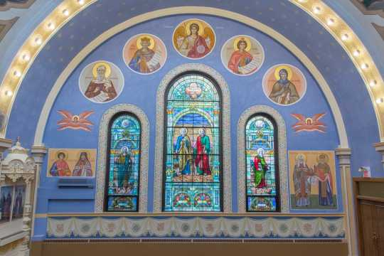 Color image of a side wall of St. Mary's Orthodox Cathedral sanctuary after renovation, 2015.
