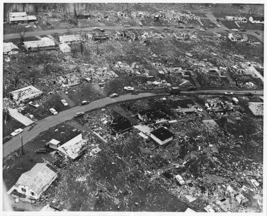 Aerial view of Fridley tornado damage