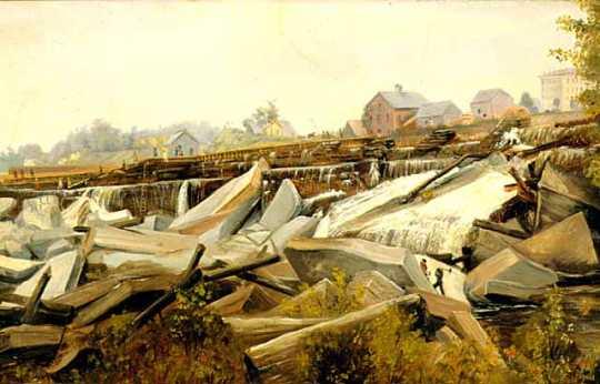 St. Anthony Falls: Reconstructing St. Anthony Falls, 1869 (2)