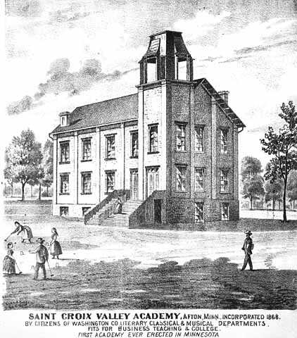 lithograph of school and schoolchildren playing outside