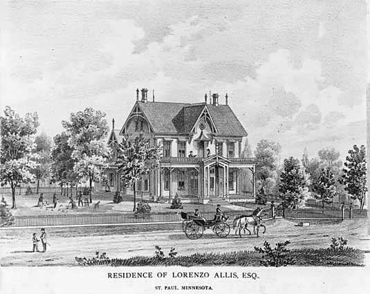 lithograph depicting the home of Lorenzo Allis in St. Paul